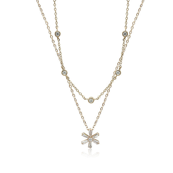 Cubic Zirconia 2 Layer Necklace - CHOMEL