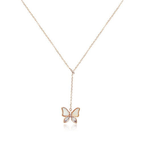Mother of Pearl Butterfly Pendant Necklace