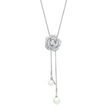 Simulated Pearl and Cubic Zirconia Long Necklace - CHOMEL