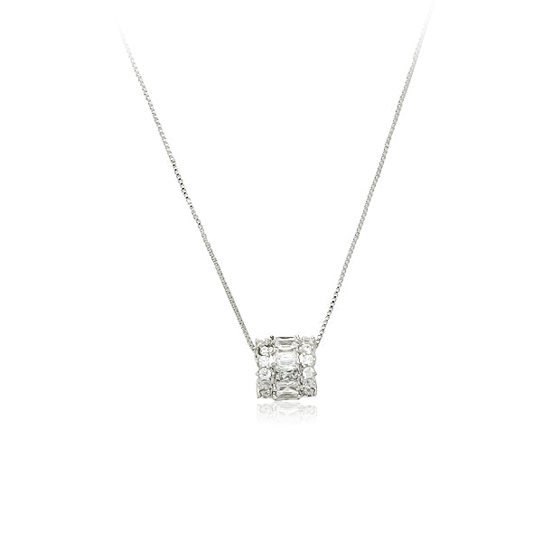 Tunnel Cubic Zirconia Pendant Necklace