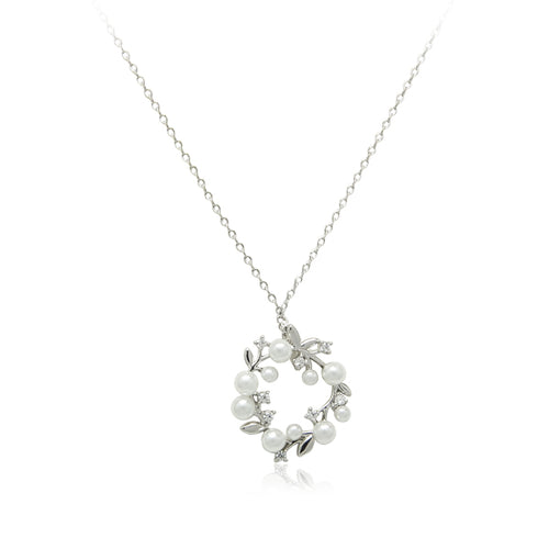 Leaf Simulated Pearl Necklace - CHOMEL
