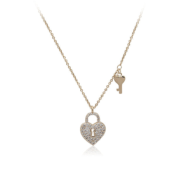 Lock & Key Cubic Zirconia Necklace - CHOMEL