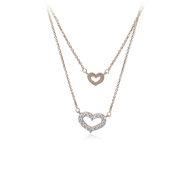 Heart Layered Cubic Zirconia Necklace