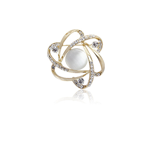 Simulated Moonstone Brooch