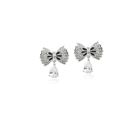 Cubic Zirconia Heart Drop Earrings
