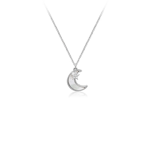 Mother of Pearl Crescent Moon with Cubic Zirconia Pendant Necklace