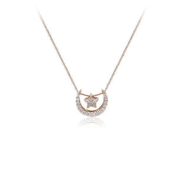 Cubic Zirconia Star & Crescent Necklace
