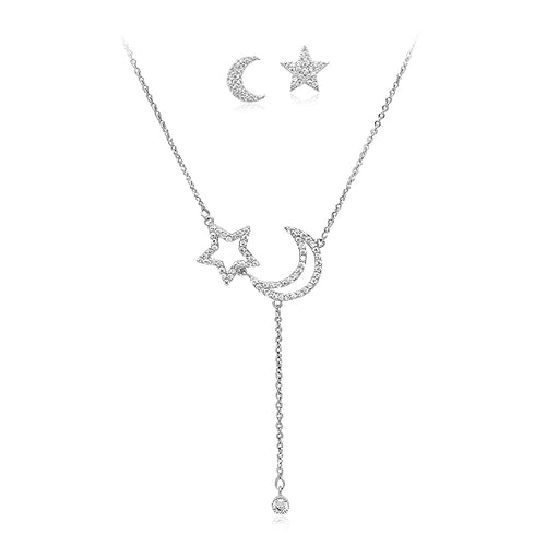 Cubic Zirconia Necklace and Earrings Set