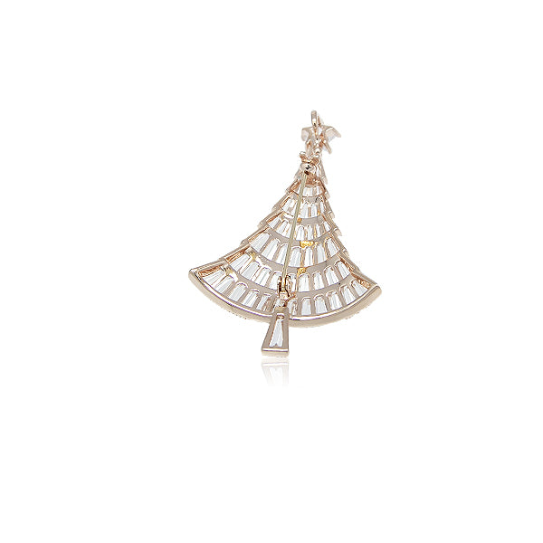 Christmas Tree Cubic Zirconia Brooch