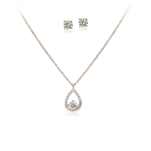 Cubic Zirconia Necklace & Earrings Set - CHOMEL