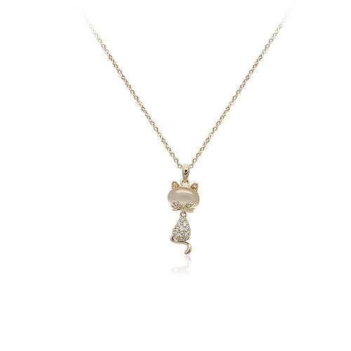 Cat Simulated Moonstone Necklace