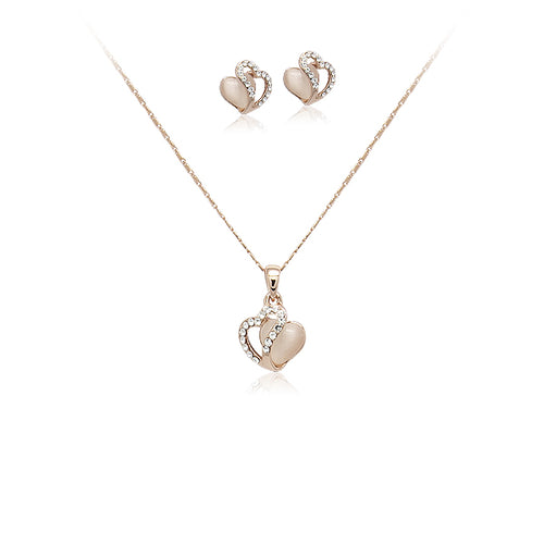 Heart Simulated Moonstone Set - CHOMEL
