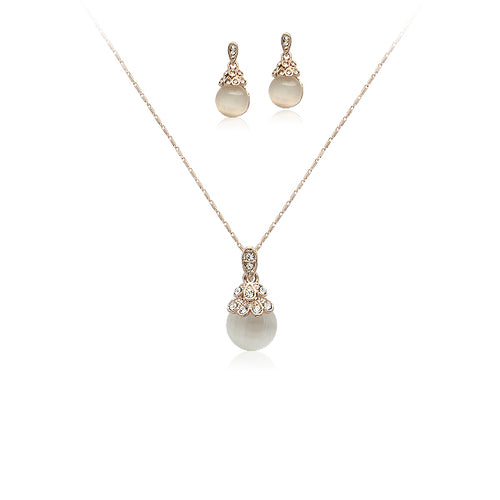 Simulated Moonstone Necklace & Earring Set - CHOMEL