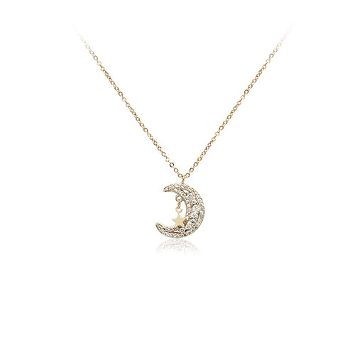 Moon Cubic Zirconia Necklace - CHOMEL