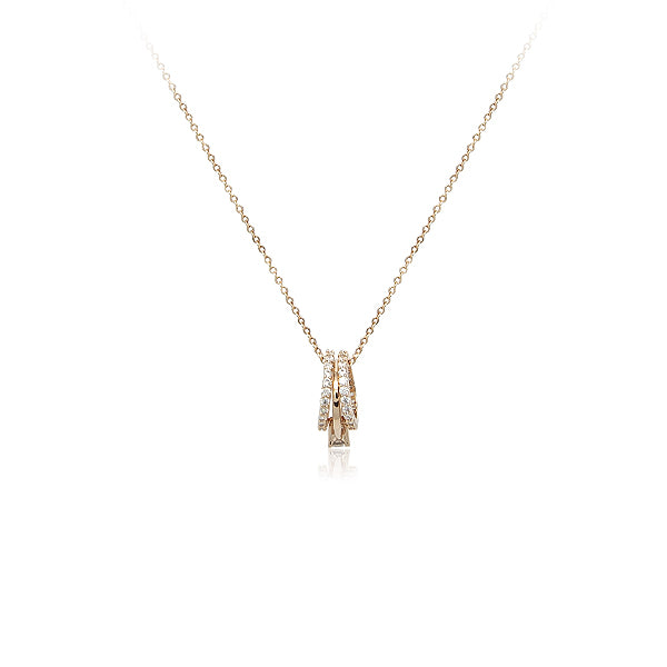 3 Ring Cubic Zirconia Pendant Necklace