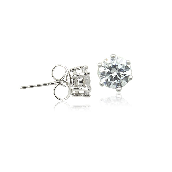 6mm Cubic Zirconia Solitaire Stud Earring