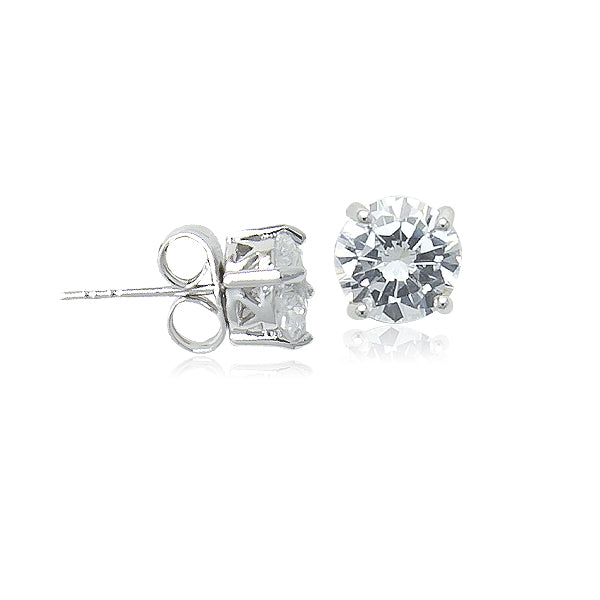 7mm Cubic Zirconia Solitaire Stud Earring - CHOMEL