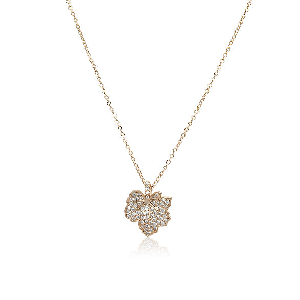 Cubic Zirconia Maple Leaf Necklace