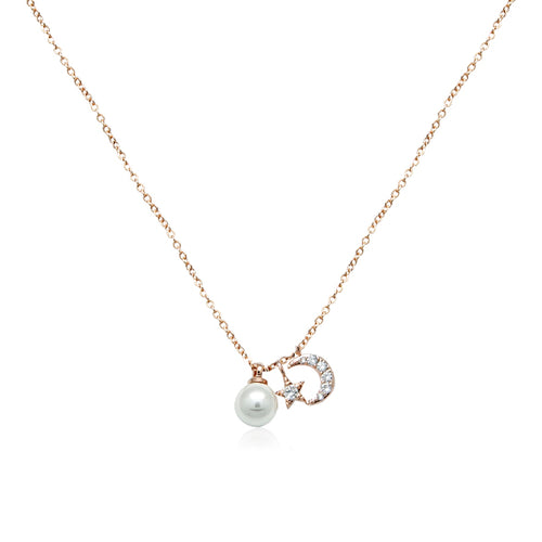 Moon & Star Pearl Necklace