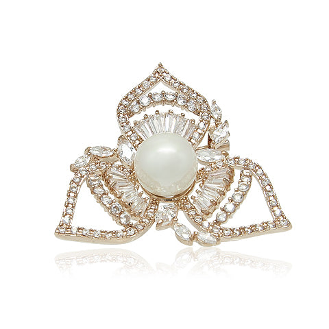 Simulated Pearl Flower Brooch - CHOMEL