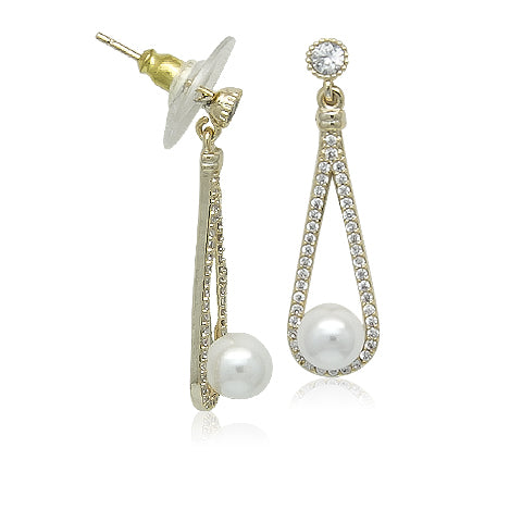 Simulated Pearl Gold Drop Earrings