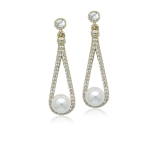 Simulated Pearl Gold Drop Earrings - CHOMEL