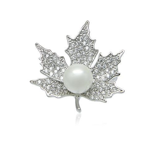 Simulated Pearl Maple Leaf Brooch