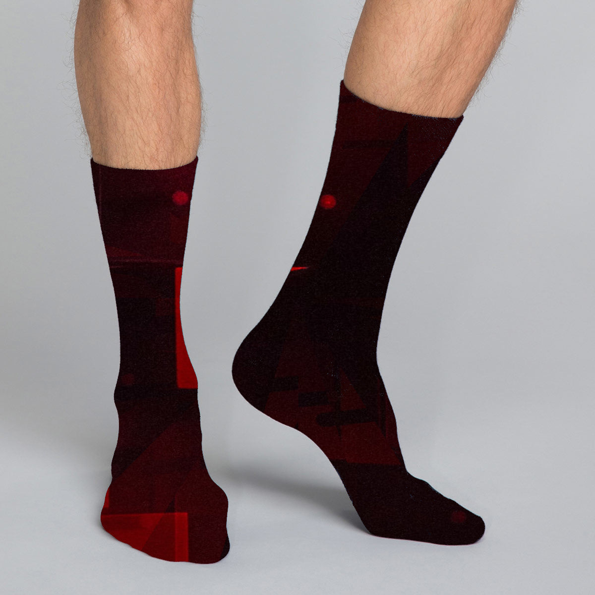 Men's casual crew socks in unique colorful design celebrating food, fashion, fitness, fun