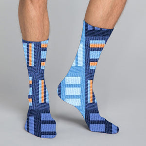 Women's, men's & youth's casual crew socks in unique colorful design celebrating food, fashion, fitness, fun