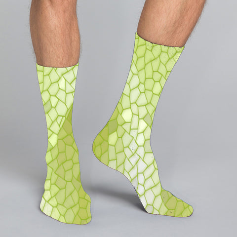Women's and men's casual crew socks in unique colorful design celebrating food, fashion, fitness, fun
