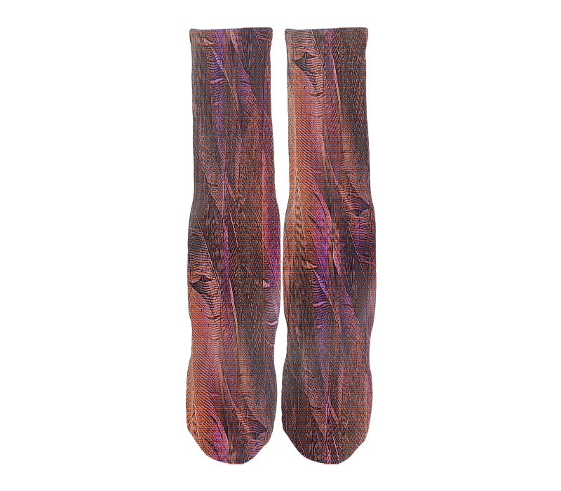 Men's casual crew socks in unique colorful purple & brown design celebrating food, fashion, fitness, fun