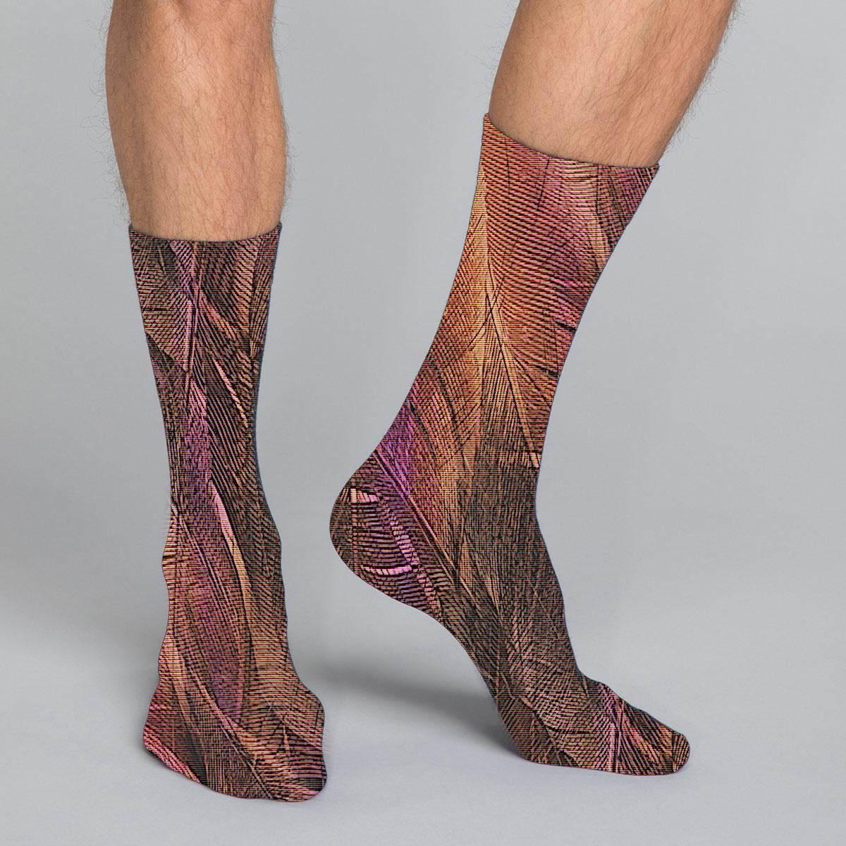 Women's, men's & youth's casual crew socks in unique colorful purple & brown design celebrating food, fashion, fitness, fun