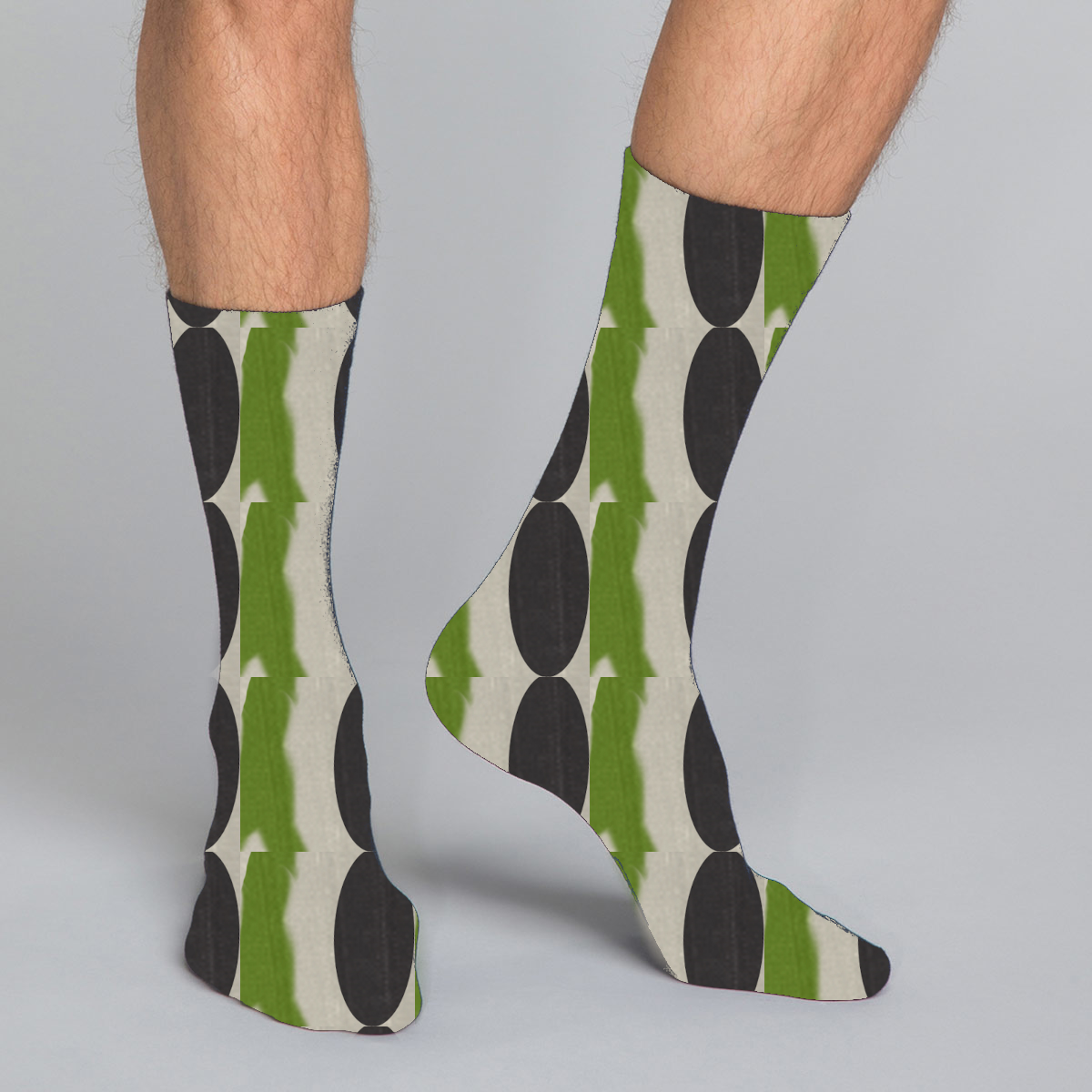 Women's, men's & youth's casual crew socks in unique colorful green, brown and beige design celebrating food, fashion, fitness, fun