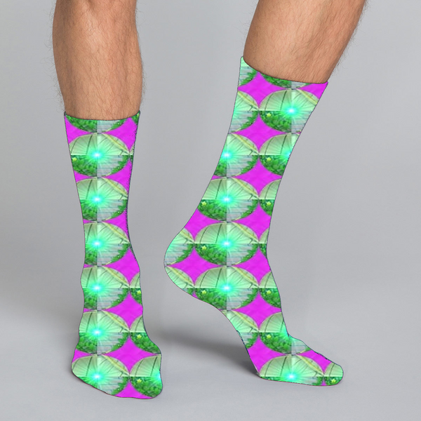 Women's, men's & kids' casual crew socks in unique funky colorful design celebrating food, fitness, fashion, fun
