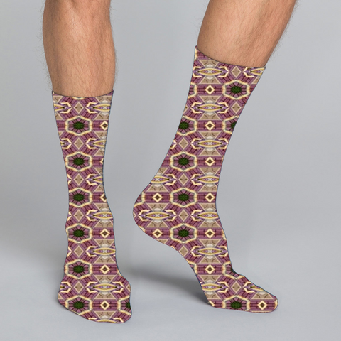 Men's casual crew socks in unique funky colorful design celebrating food, fitness, fashion, fun