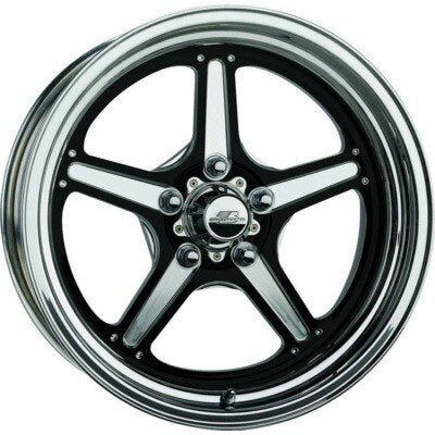 Wheel, Street Lite, 15 x 10 in, 5.500 in Backspace, 5 x 4.75 in Bolt Pattern, Billet Aluminum, Black Anodize / Polished, Each