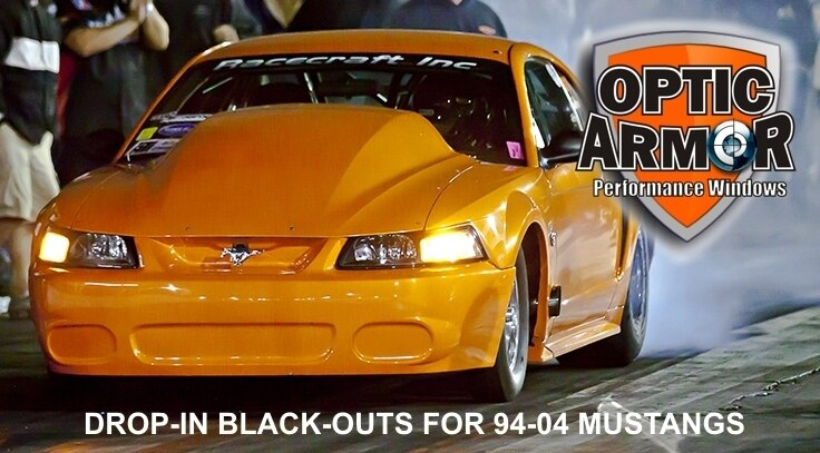 Mustang 1994 to 2004 Drop-In Black-Out Rear Window 3/16in Thick -Tinted - Optic Armor Coat. Formed to factory curvature