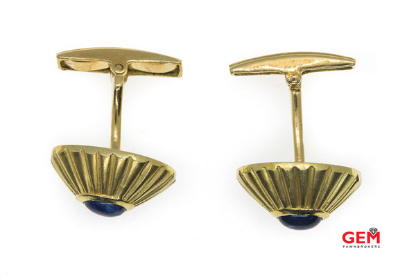 18 KT Yellow Gold Greece Cabochon Sapphire Cufflinks