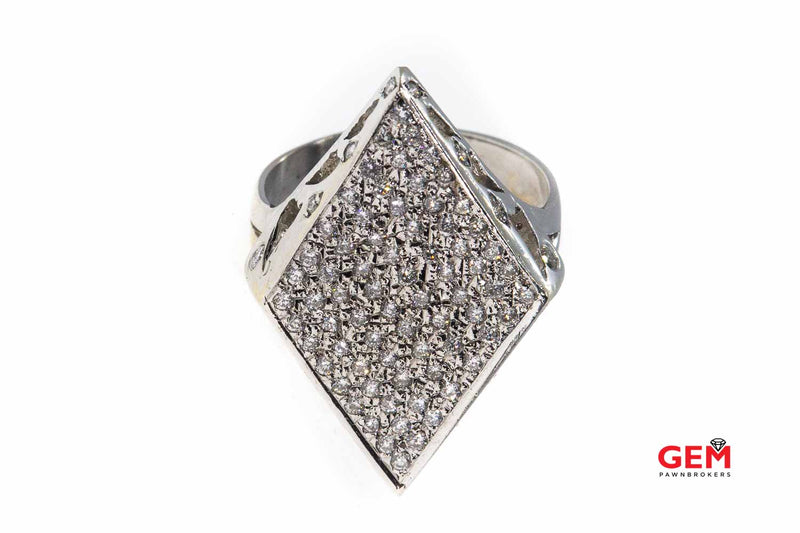 Navette Diamond Cluster Hearts Kisses 14K 585 White Gold Ring Size 8 3/4