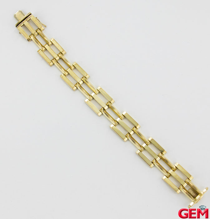"Retro Wide 18mm 8kt 333 Yellow Gold Bracelet 7.5"" Hollow Link"