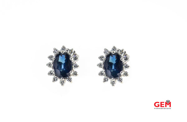 Oval Natural Sapphire Diamond Halo 14k 585 White Gold Earrings