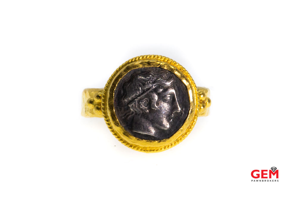 ARA Designer Hammered 24k 999 Yellow Gold Greek Coin Ring Size 6.5
