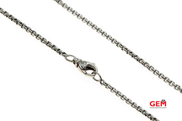 "David Yurman Chain Collection 2.5mm Box Link 925 Sterling Silver 23.4"" Necklace"