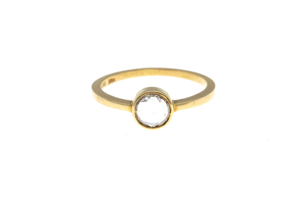 Gillian Conroy & Wilcox Diamond Solitaire Band 18K 750 Yellow Gold Ring Size 6