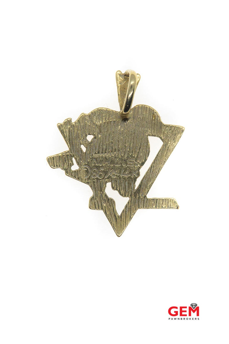 Vintage NHL Hockey 14k 585 Solid Yellow Gold Pittsburg Penguin Charm Pendant