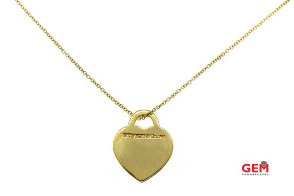 "Tiffany & Co Notes I Love You Chain Link Heart Pendant 18K 750 Yellow Gold 16"" Necklace"