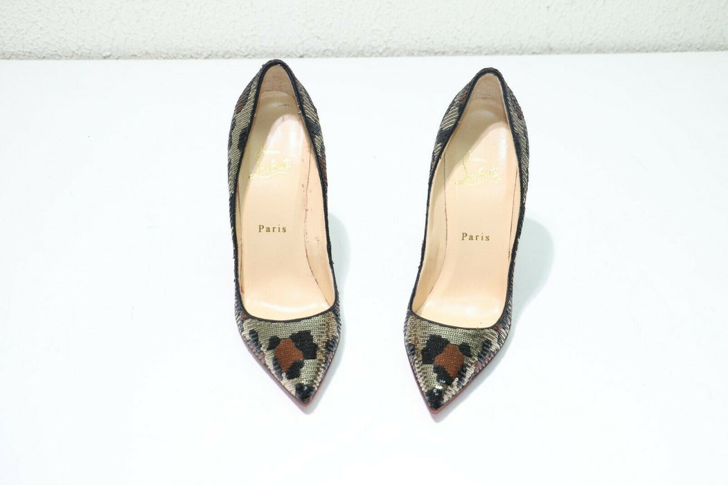 Christian Louboutin Pigalle 120mm Leopard Print Sequined Size 36.5(EUR) Pumps