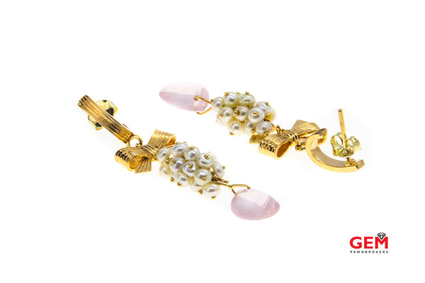 Antique Rose Quartz Seed Pearl 14K 585 Yellow Gold Ribbon Bow Tie Earrings