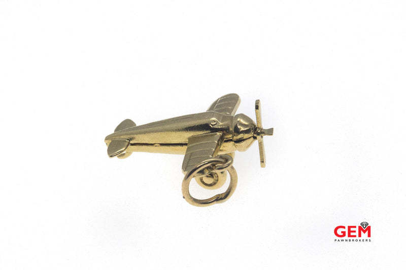 Airplane Moving Propeller Drop Charm 14K 585 Yellow Gold Aero Pendant