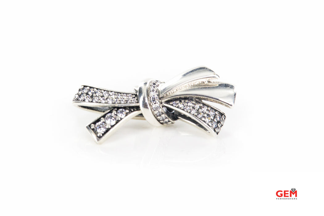 Pandora ALE Brilliant Bow Clear Cubic Zirconia Charm 925 Sterling Silver Pendant